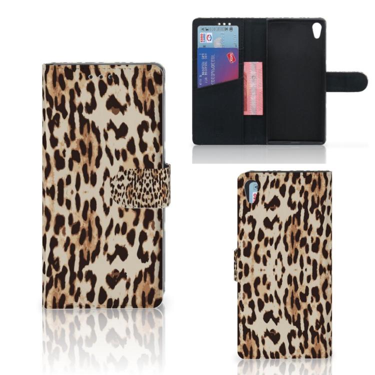 Sony Xperia XA1 Ultra Telefoonhoesje met Pasjes Leopard