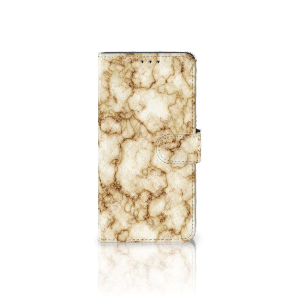 Samsung Galaxy A8 Plus (2018) Uniek Boekhoesje Marmer Goud