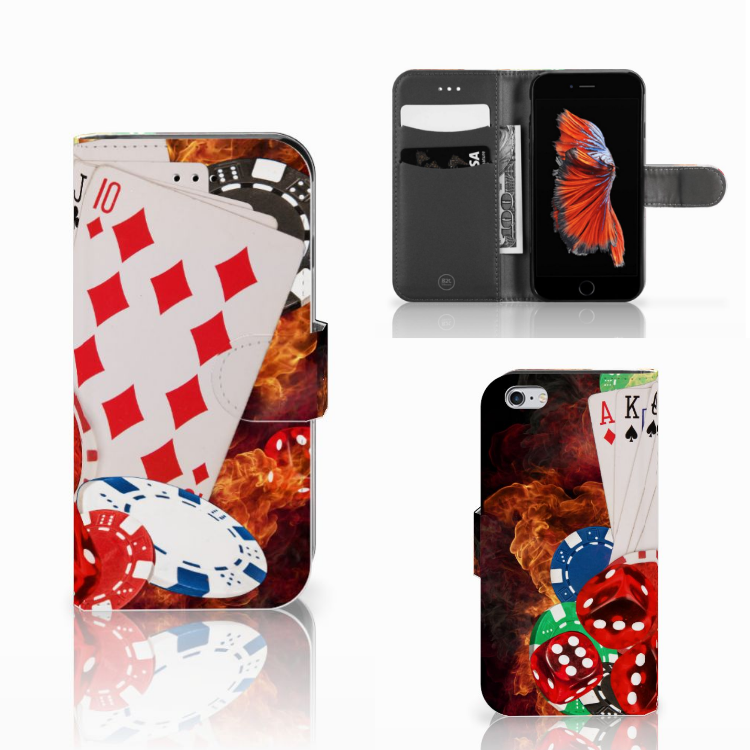 Apple iPhone 6 | 6s Wallet Case met Pasjes Casino