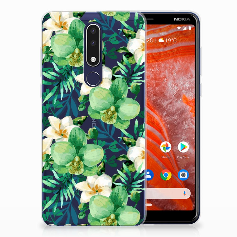 Nokia 3.1 Plus TPU Case Orchidee Groen