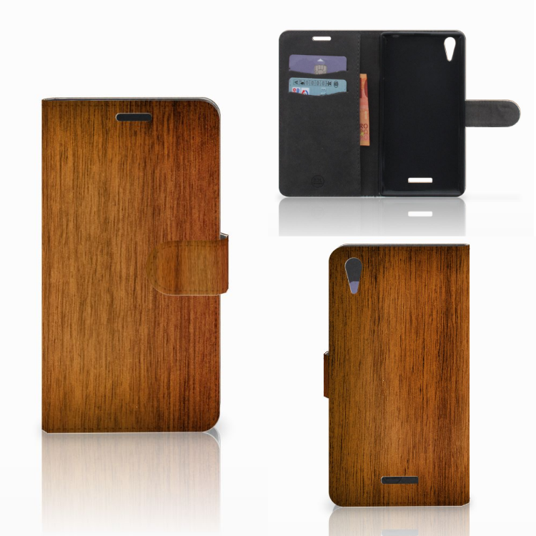 Sony Xperia T3 Book Style Case Donker Hout