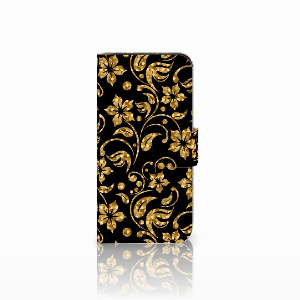 HTC One Mini 2 Boekhoesje Design Gouden Bloemen