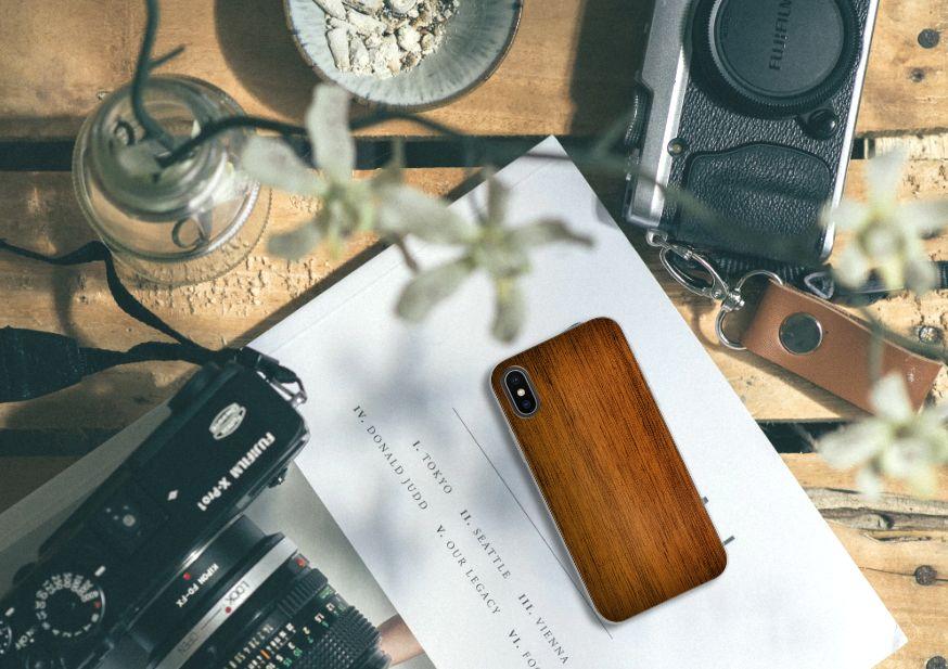 Apple iPhone X | Xs Bumper Hoesje Donker Hout