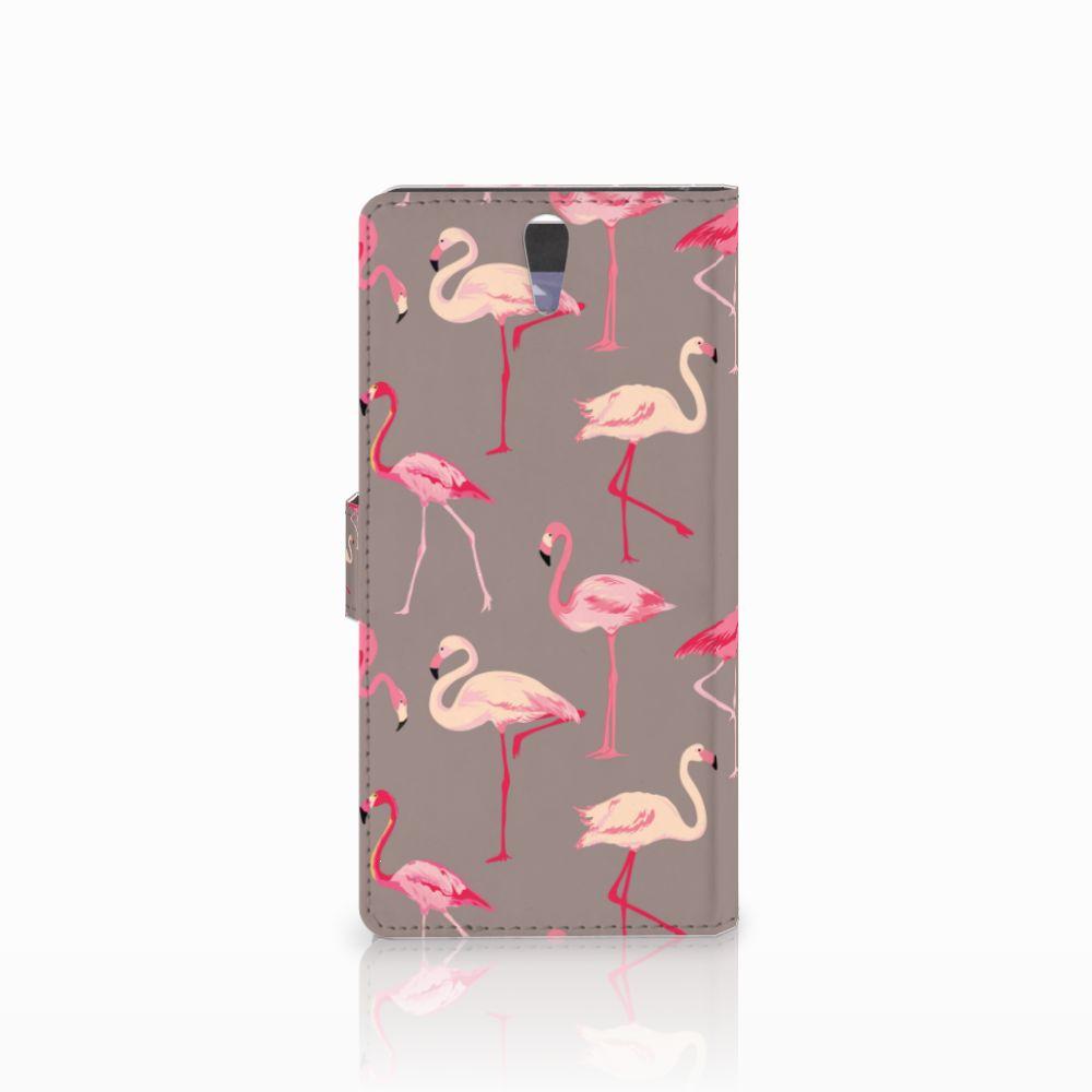 Sony Xperia C5 Ultra Telefoonhoesje met Pasjes Flamingo