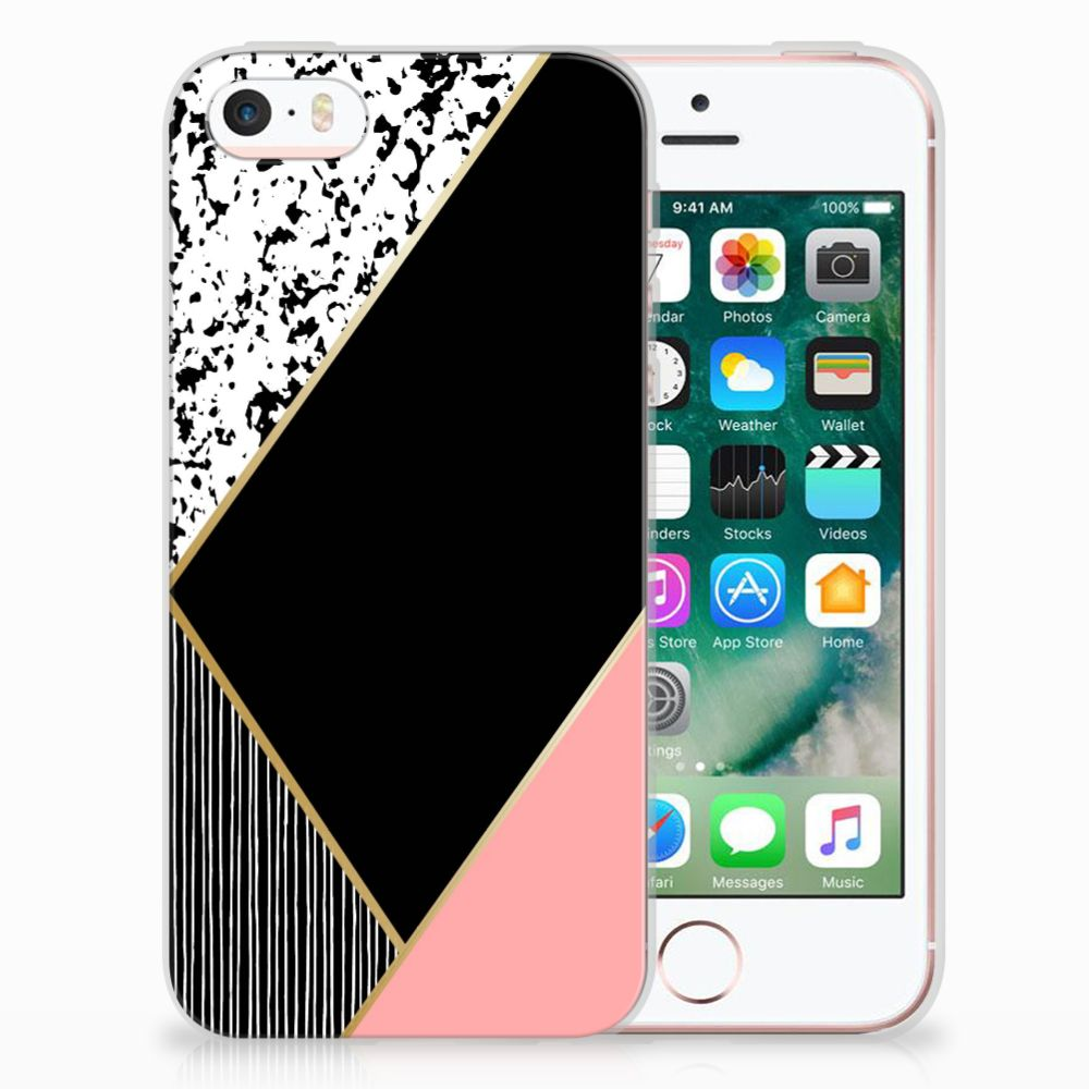 Apple iPhone SE | 5S Uniek TPU Hoesje Black Pink Shapes