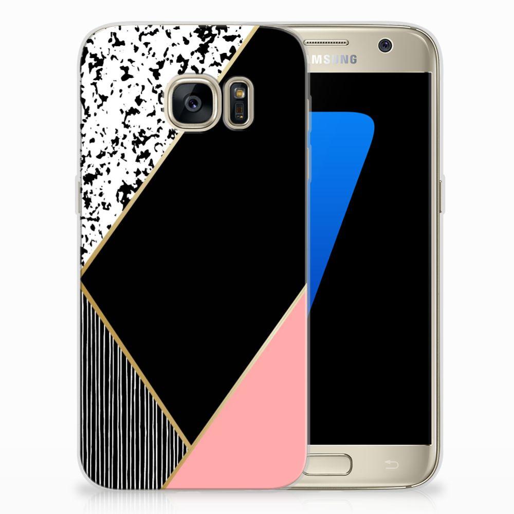 Samsung Galaxy S7 TPU Hoesje Zwart Roze Vormen