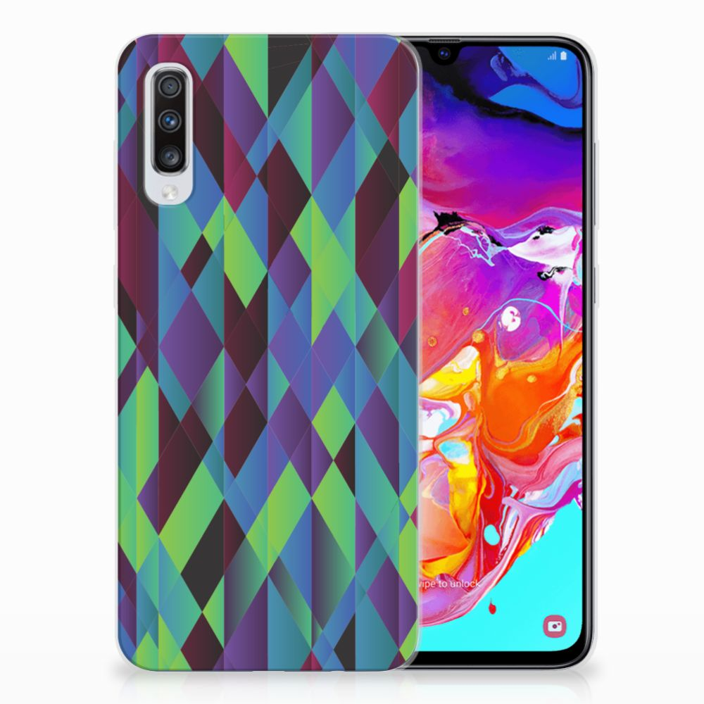 Samsung Galaxy A70 TPU Hoesje Abstract Green Blue