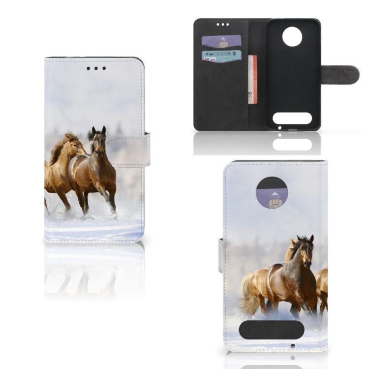 Motorola Moto Z2 Force Telefoonhoesje met Pasjes Paarden