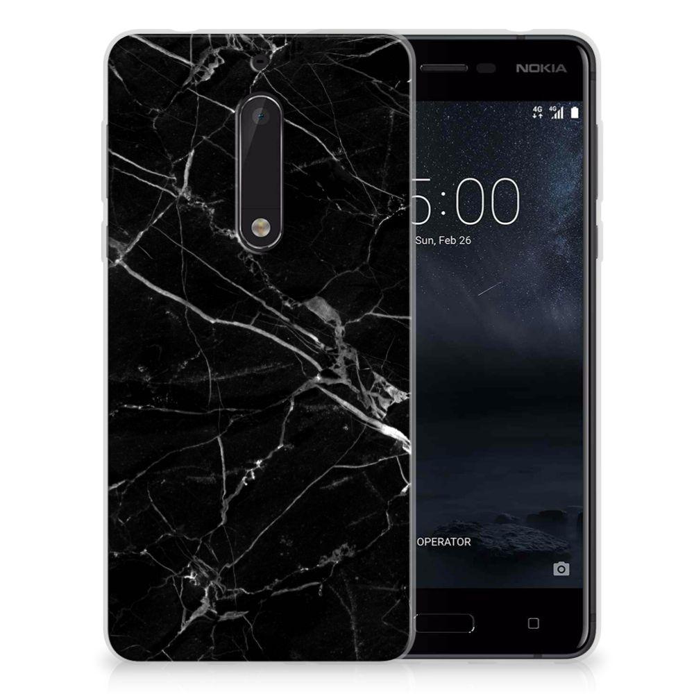 Nokia 5 TPU Siliconen Hoesje Marmer Zwart