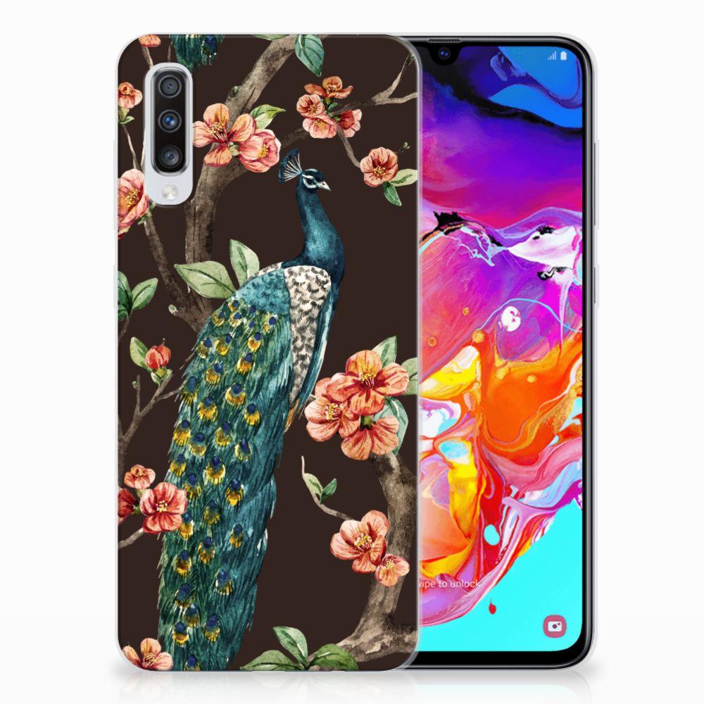 Samsung Galaxy A70 TPU Hoesje Pauw met Bloemen
