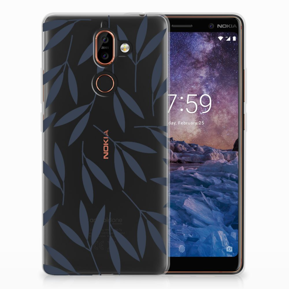 Nokia 7 Plus TPU Hoesje Design Leaves Blue