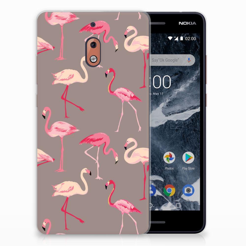 Nokia 2.1 (2018) Uniek TPU Hoesje Flamingo