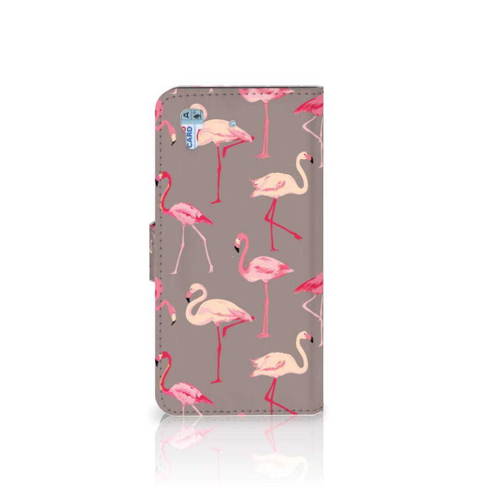 Honor 4A | Y6 Telefoonhoesje met Pasjes Flamingo