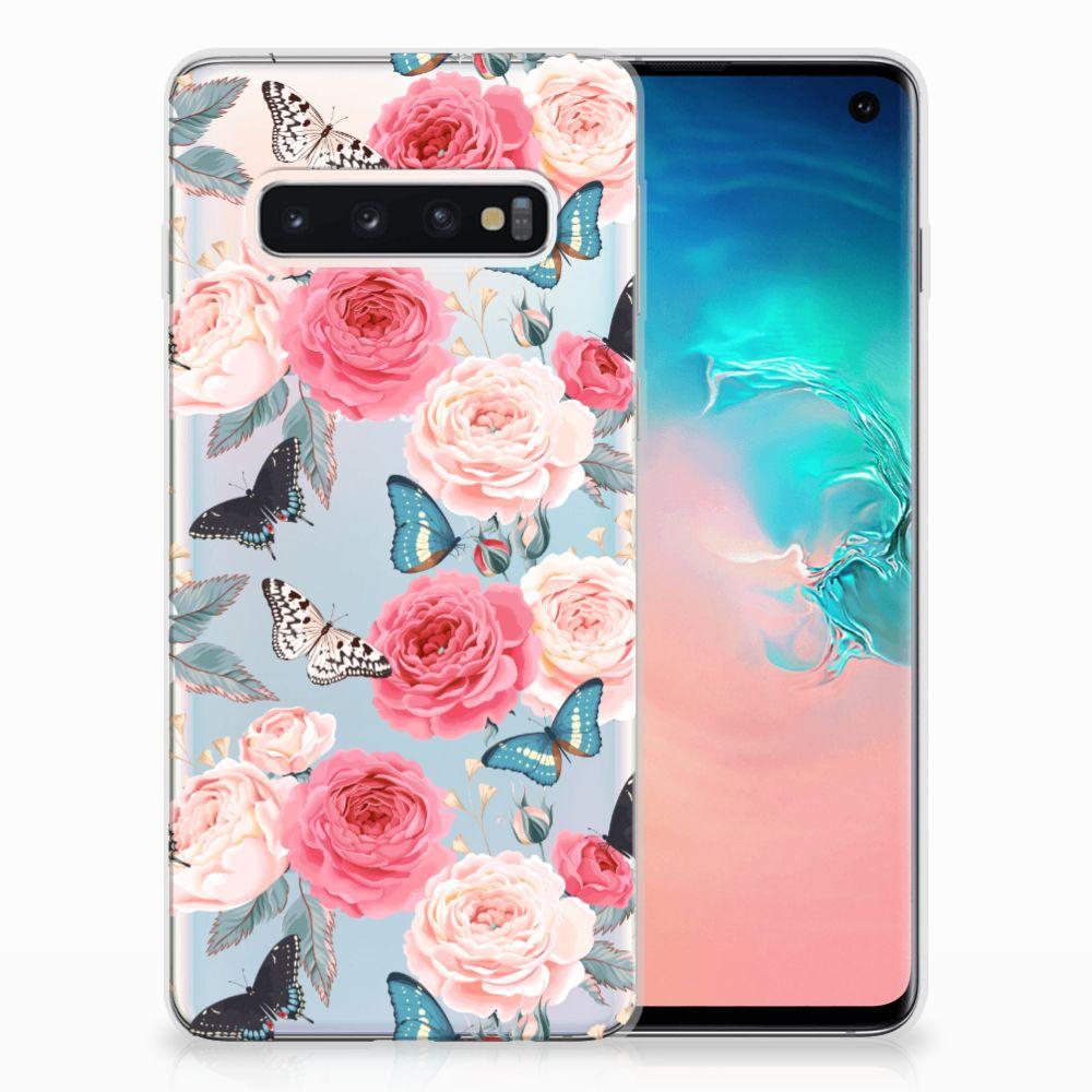 Samsung Galaxy S10 Uniek TPU Hoesje Butterfly Roses