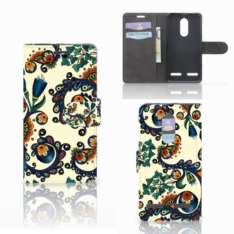 Wallet Case Lenovo K6 Barok Flower
