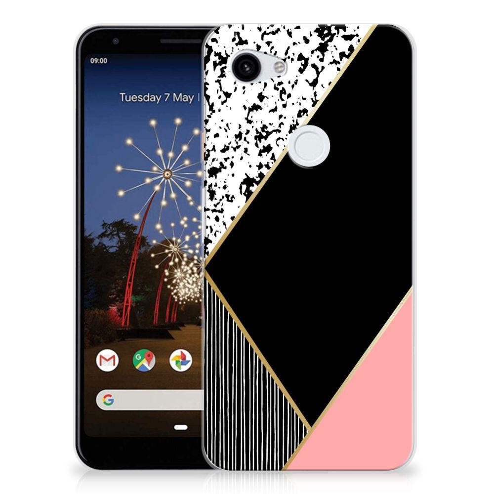 Google Pixel 3A XL TPU Hoesje Zwart Roze Vormen