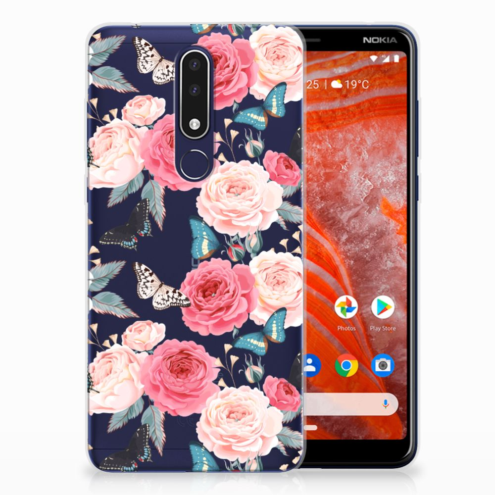 Nokia 3.1 Plus TPU Case Butterfly Roses
