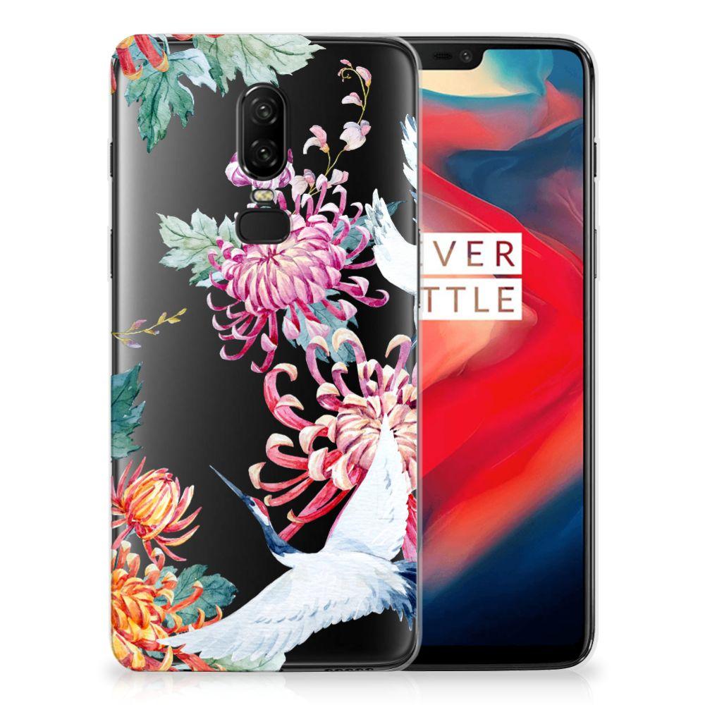 OnePlus 6 TPU Hoesje Bird Flowers
