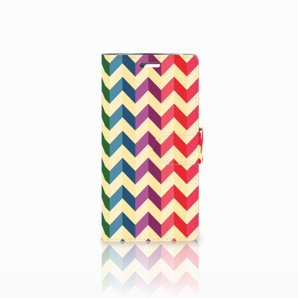 LG K10 2015 Uniek Boekhoesje Zigzag Color