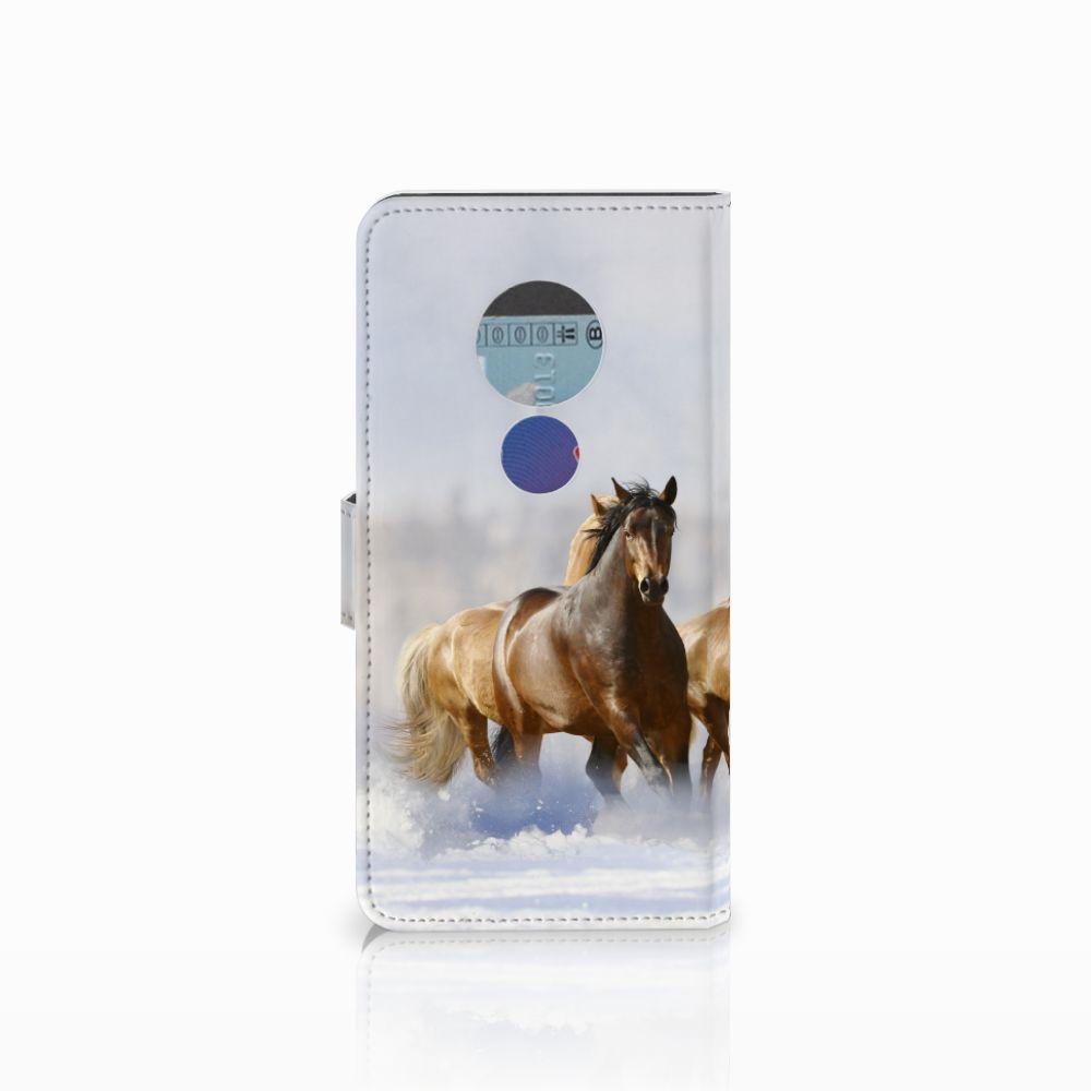 Motorola Moto E5 Telefoonhoesje met Pasjes Paarden