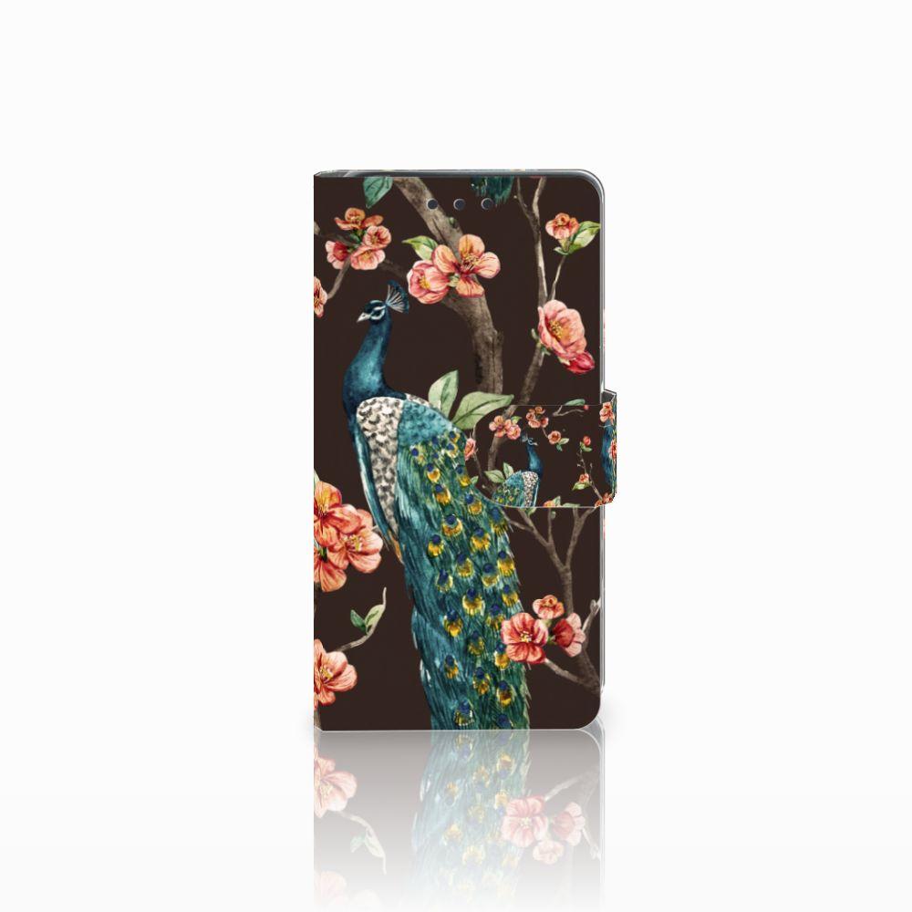 Sony Xperia X Telefoonhoesje met Pasjes Pauw met Bloemen