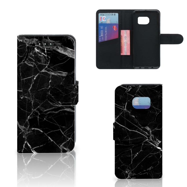 Samsung Galaxy S6 Edge Bookcase Marmer Zwart - Origineel Cadeau Vader