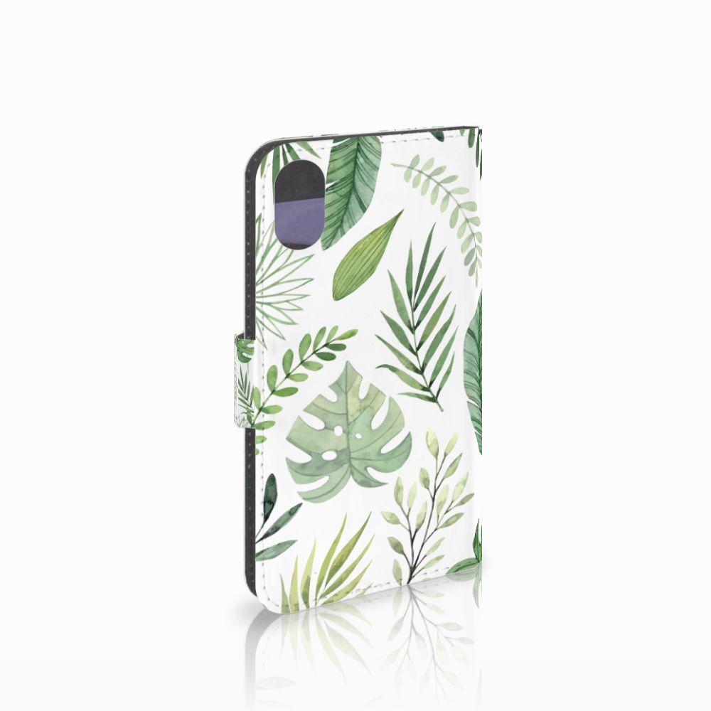 Apple iPhone X   Xs Uniek Boekhoesje Leaves
