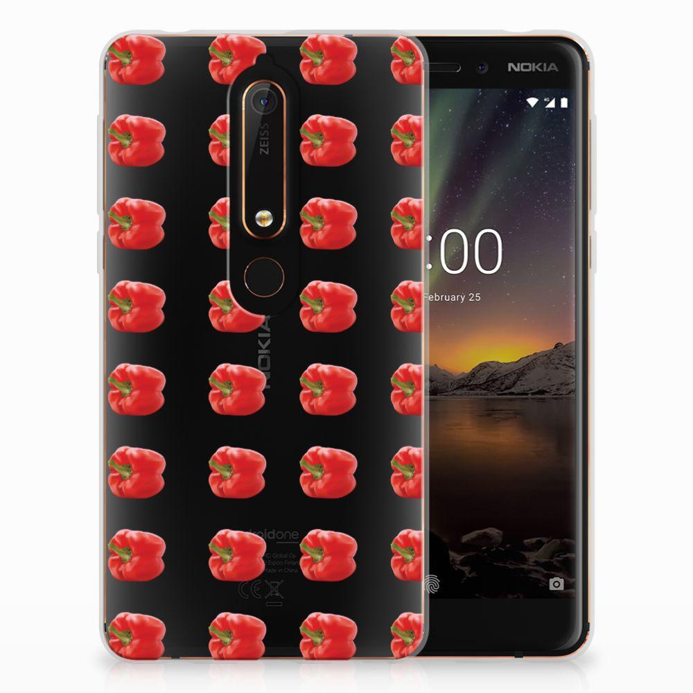 Nokia 6 (2018) Siliconen Case Paprika Red