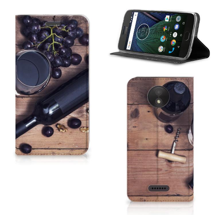 Motorola Moto C Plus Flip Style Cover Wijn