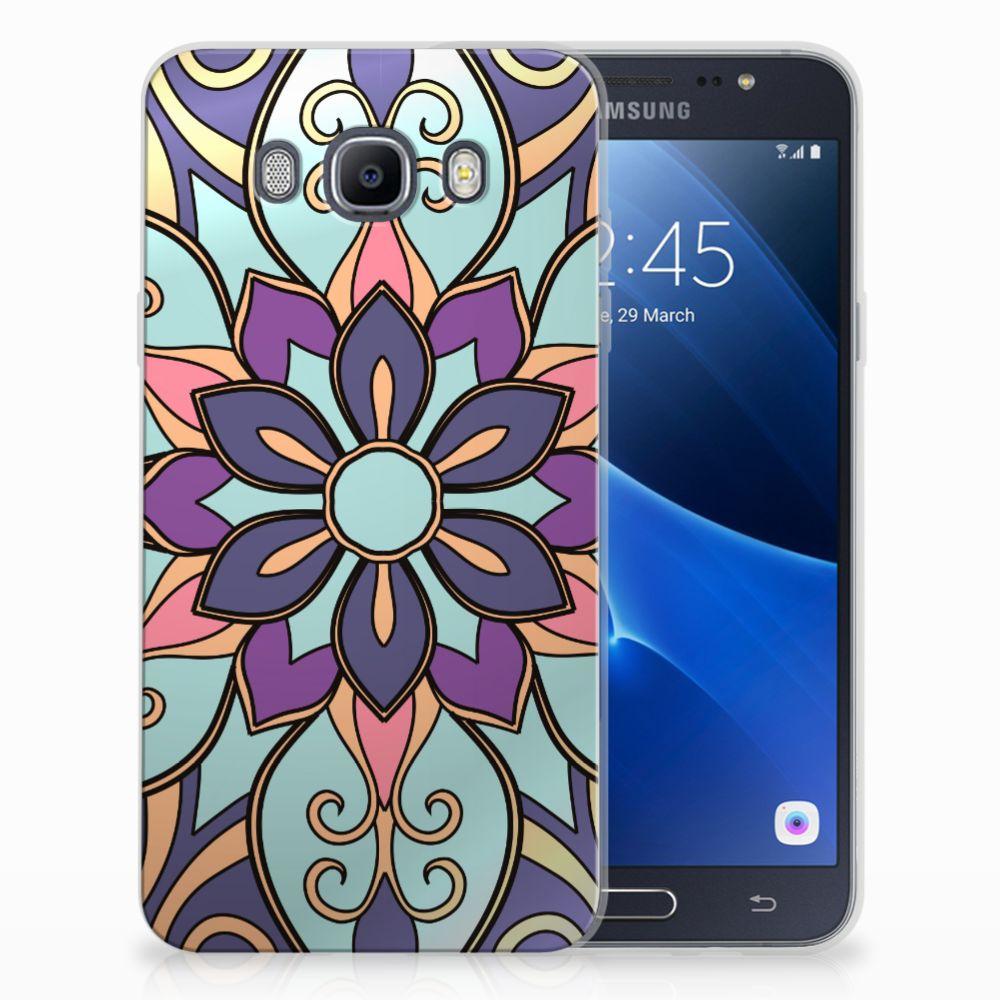 Samsung Galaxy J7 2016 TPU Hoesje Design Purple Flower