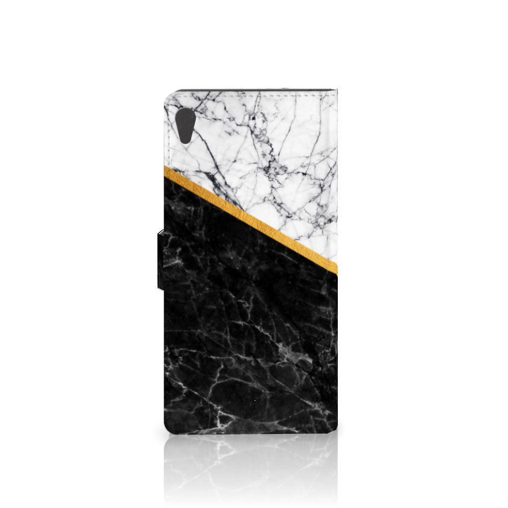 Sony Xperia XA Ultra Bookcase Marmer Wit Zwart