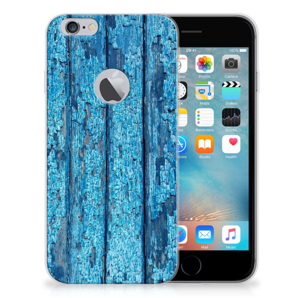 Apple iPhone 6 Plus   6s Plus Bumper Hoesje Wood Blue