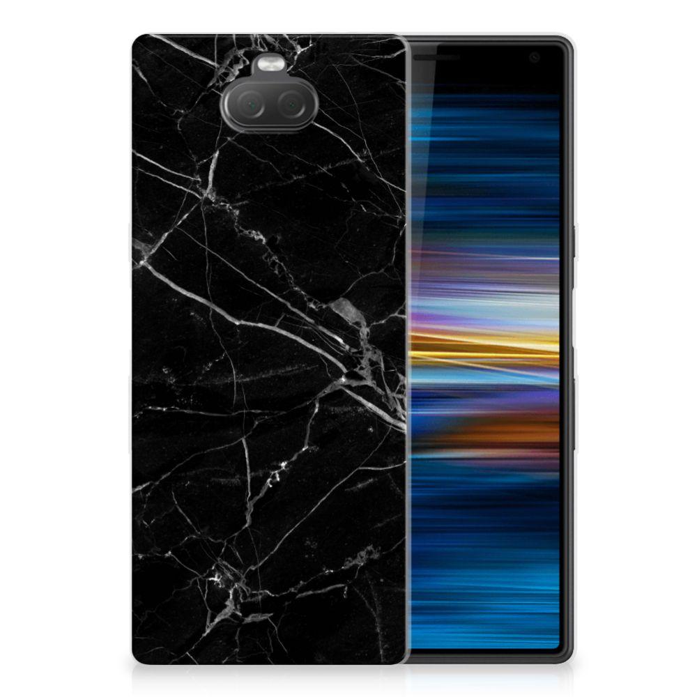 Sony Xperia 10 TPU Siliconen Hoesje Marmer Zwart