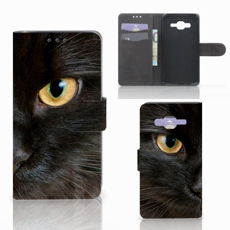 Samsung Galaxy J5 (2015) Telefoonhoesje met Pasjes Zwarte Kat