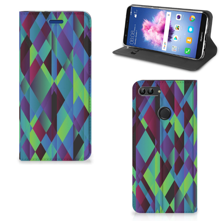 Huawei P Smart Stand Case Abstract Green Blue