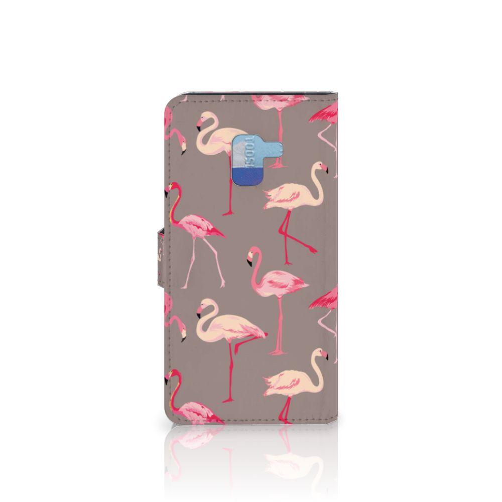 Samsung Galaxy A8 Plus (2018) Telefoonhoesje met Pasjes Flamingo