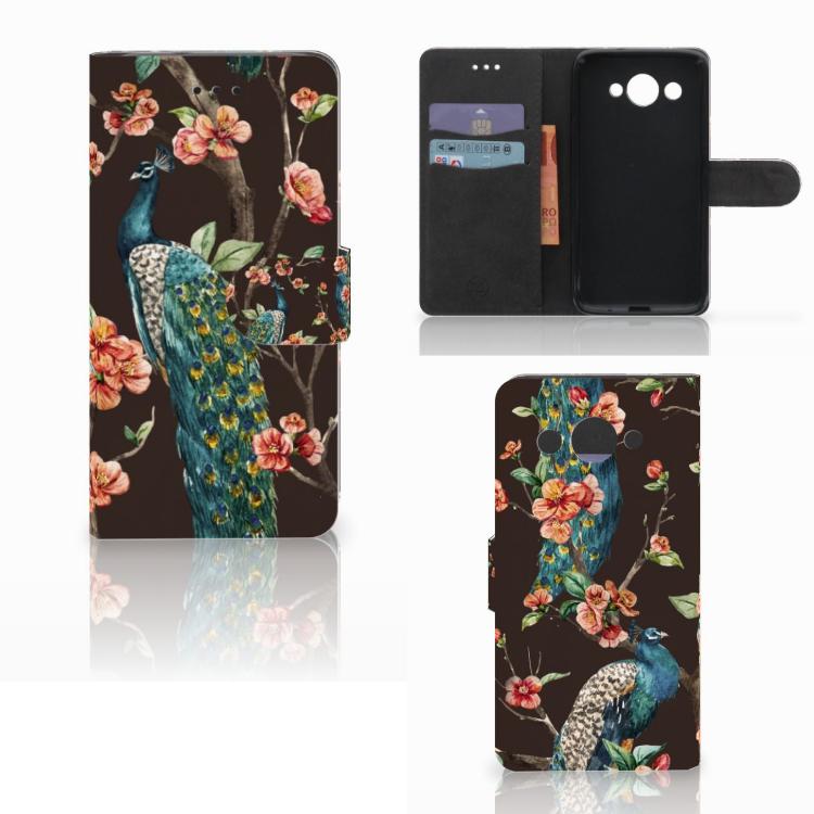 Huawei Y3 2017 Telefoonhoesje met Pasjes Pauw met Bloemen