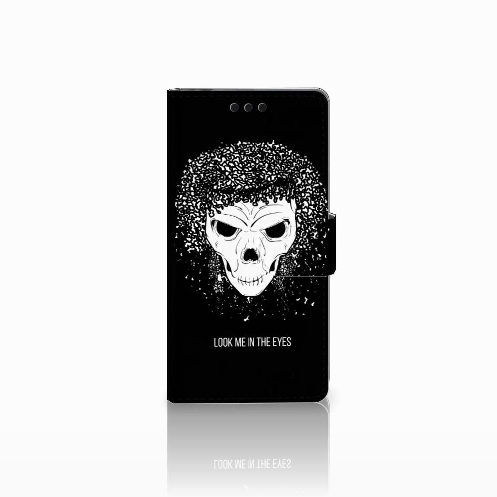 Sony Xperia M4 Aqua Uniek Boekhoesje Skull Hair