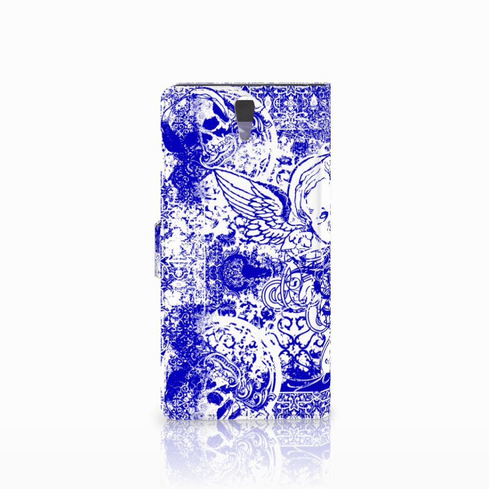 Telefoonhoesje met Naam Sony Xperia C5 Ultra Angel Skull Blauw