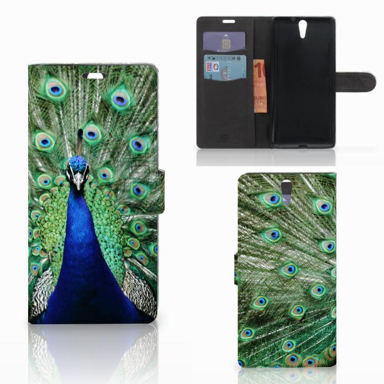 Sony Xperia C5 Ultra Telefoonhoesje met Pasjes Pauw