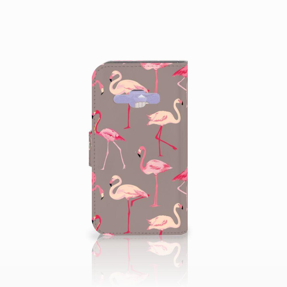 Samsung Galaxy J1 2016 Telefoonhoesje met Pasjes Flamingo