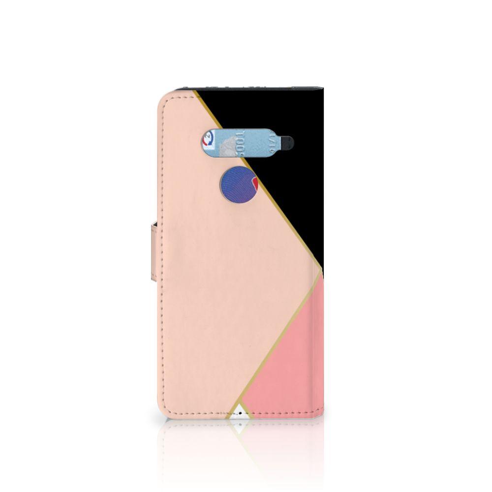 LG V40 Thinq Bookcase Zwart Roze Vormen