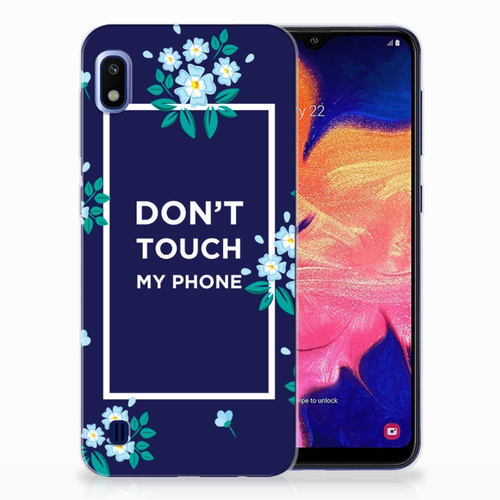 Samsung Galaxy A10 TPU Hoesje Flowers Blue DTMP