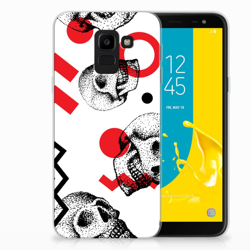 Samsung Galaxy J6 2018 TPU Hoesje Design Skull Red