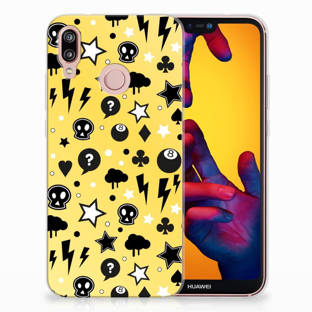 Huawei P20 Lite Uniek TPU Hoesje Punk Yellow