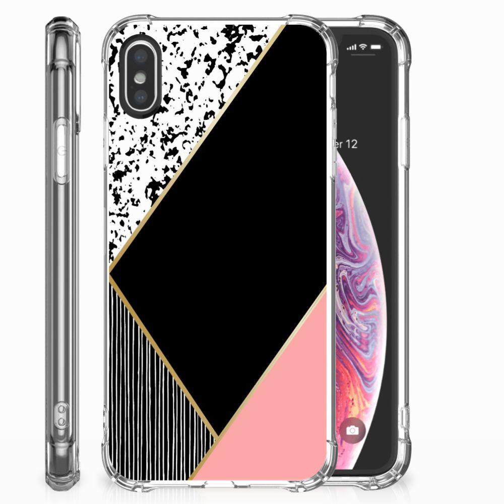 Apple iPhone X | Xs Shockproof Case Zwart Roze Vormen
