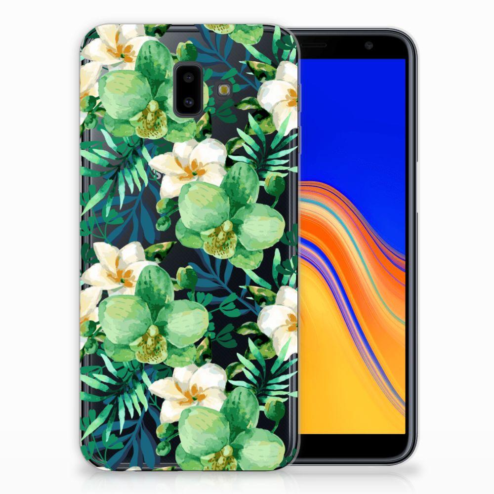 Samsung Galaxy J6 Plus (2018) Uniek TPU Hoesje Orchidee Groen