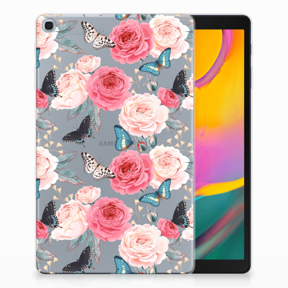 Samsung Galaxy Tab A 10.1 (2019) Uniek Tablethoesje Butterfly Roses