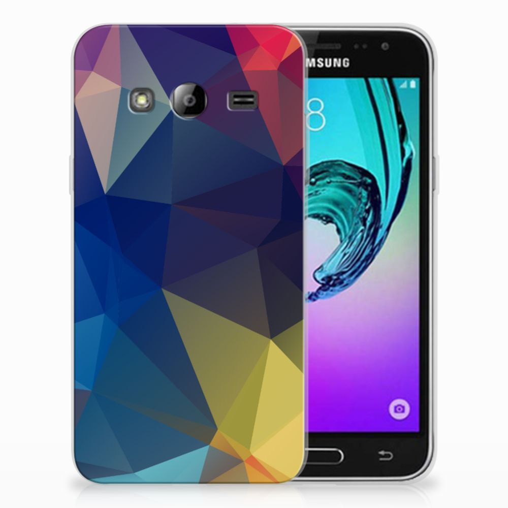 Samsung Galaxy J3 2016 Uniek TPU Hoesje Polygon Dark