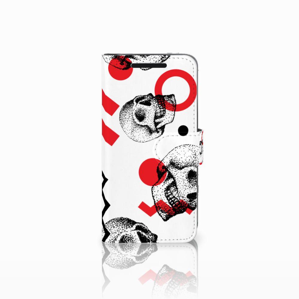 Telefoonhoesje met Naam HTC One M9 Skull Red